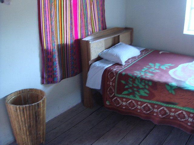 My bed at the home stay on Amantani Island, Lake Titicaca, Peru