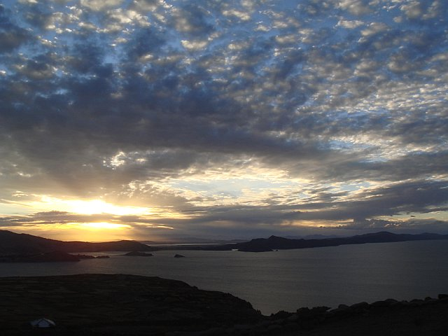 Amazing sky at sunset from Pachamama, Amantani Island, Lake Titicaca, Peru